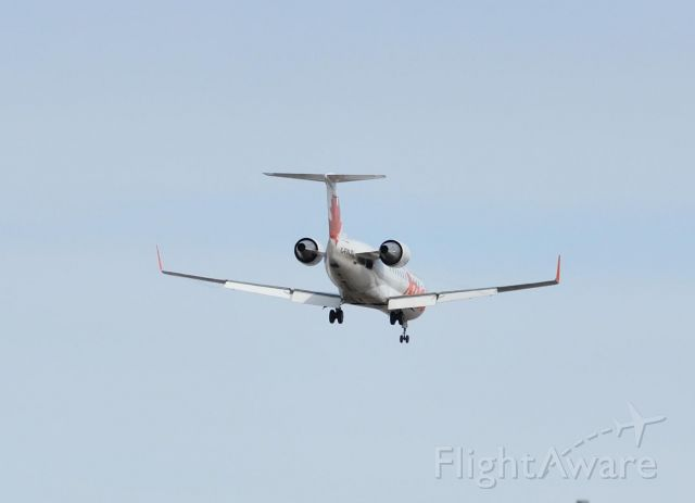 Canadair Challenger (JZA898) - 06April2010  Todays flight was C-FWJS CL600 S/N 7097 on short final for runway 08 at CYYR.