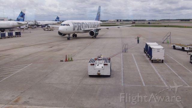 """Airbus A319 — - Frontier Airbus A319 at Orlando International Airport (MCO) Gate 10 br /""""Pete The Pelican"""" on Frontier"""