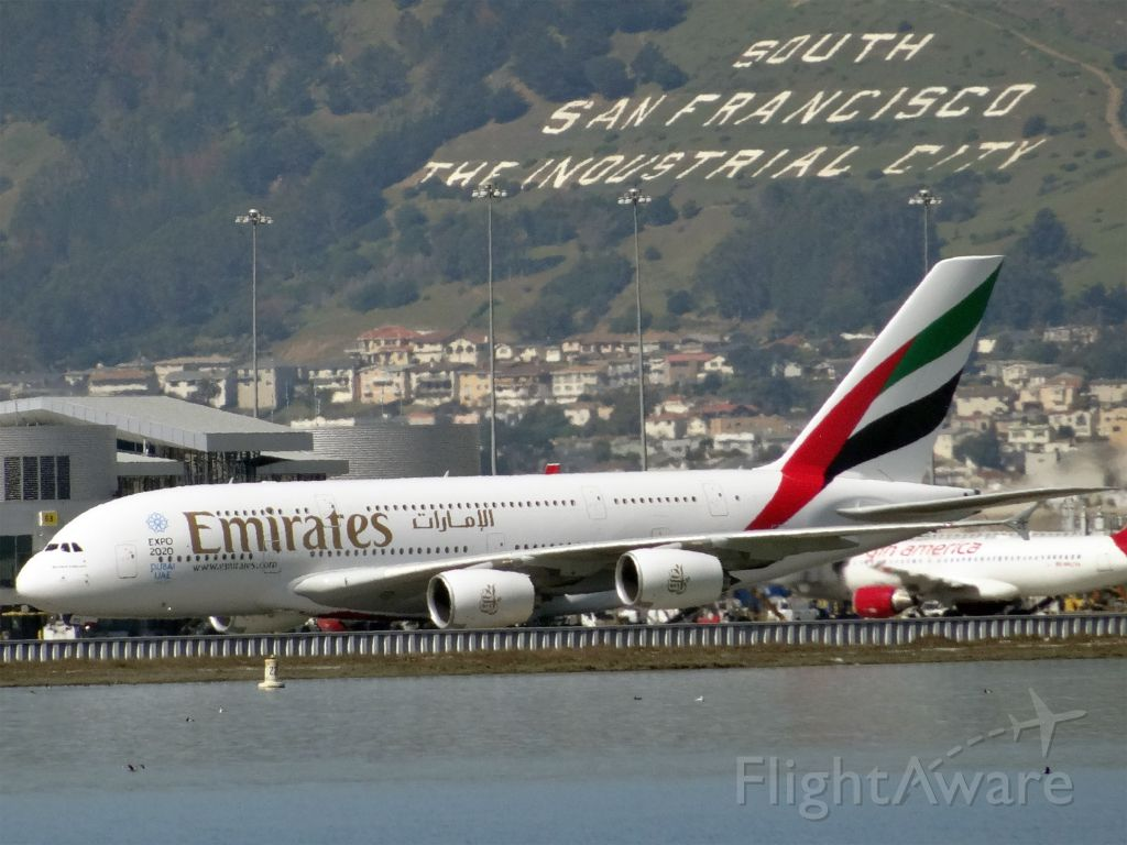 Airbus A380-800 (A6-EOC) - 20150306-130327.jpgbr /Airbus A380-800 (quad-jet) (H/A388/L) at KSFObr /A6-EOC, Age: 0.7 Yearsbr /Airbus A380-800 (quad-jet) (H/A388/L)br /Airline: Emirates, Engines: 4x GP7200