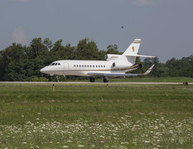 Dassault Falcon 900 (N700FL) - Falcon 900 aircraft landing at Georgetown-Scott County Airport (27K), Georgetown, Kentucky - a nice summer day in the Bluegrass!