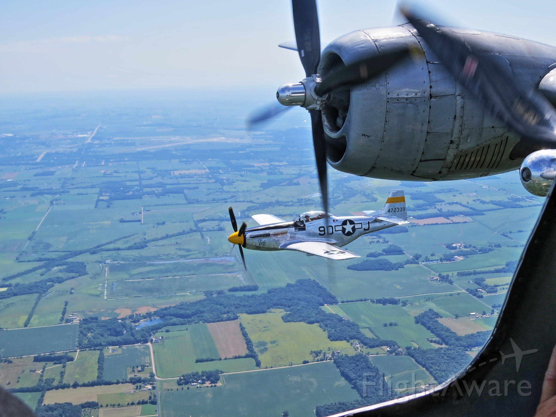 North American P-51 Mustang (N251JC) - P51 escorting B29 FiFi departing KRFD