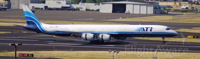 McDonnell Douglas DC-8-70 (N823BX) - Air Transport International Douglas DC-8-71F landing at Portland International Airport.