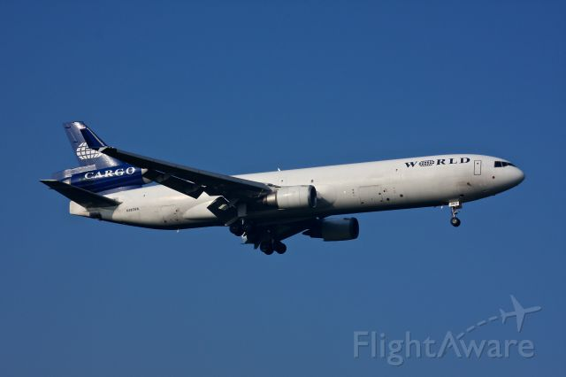 Boeing MD-11 (N383WA) - World Airways Cargo N383WA MD-11 seen here landing on 33L at BWI  July 28, 2012.