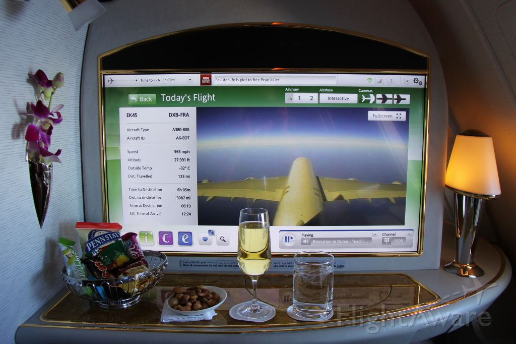 Airbus A380-800 (A6-EOT) - First Class Suite, Flight from Dubai to Frankfurt; 4-K Monitor showing Tail-Camera View.......