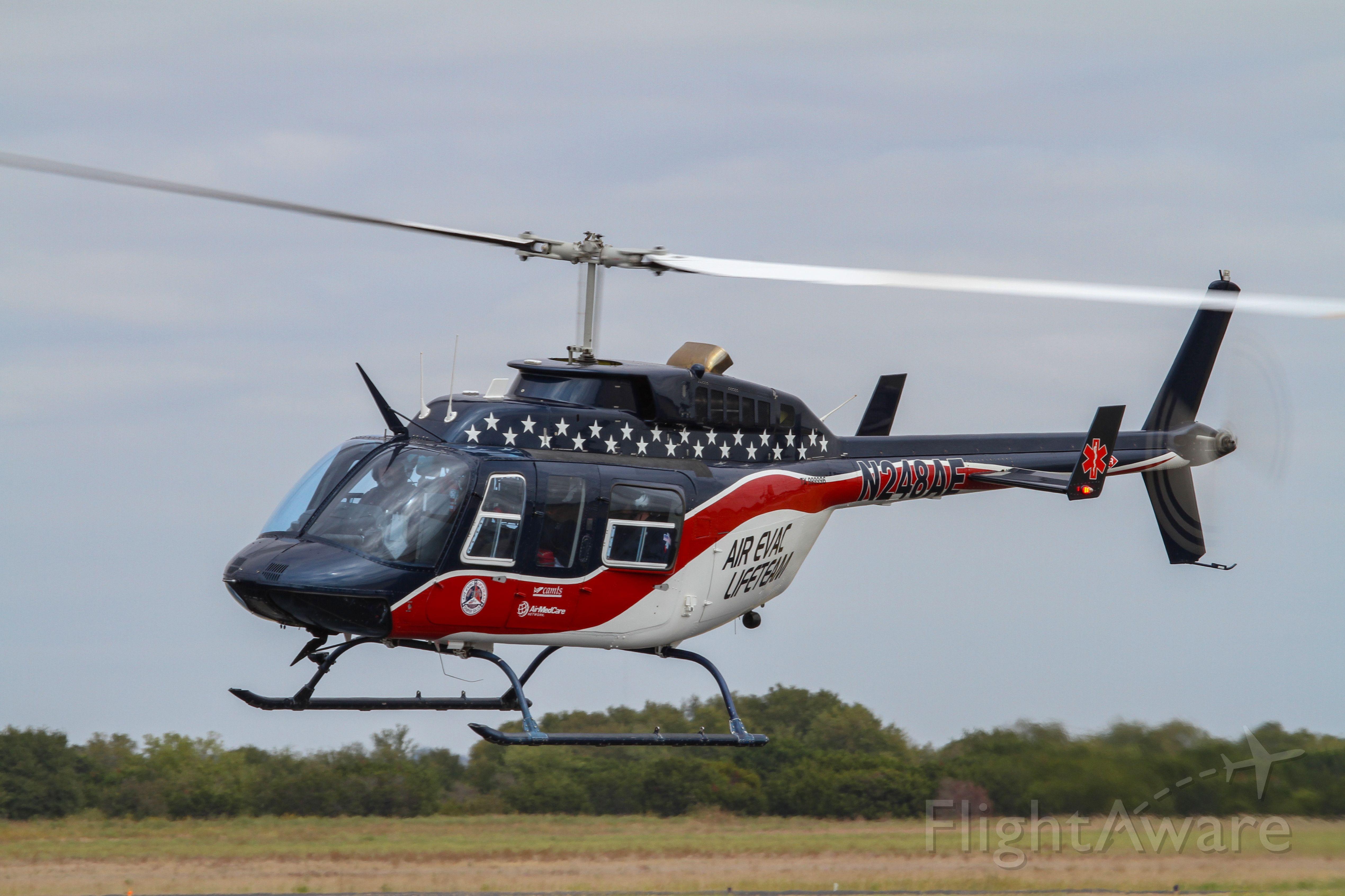 N248AE — - Air Evac Bell 206L departing KTPL
