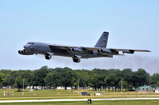 Boeing B-52 Stratofortress (61-0029) - B-52 departing Oshkosh Runway 18 & heading to Barksdale the Monday morning after AirVenture……<br /><br />8500 ft runway & she was up at 4000 ft.  I'm at 6000 down the runway.  Not much fuel required for the short flight to Barksdale.