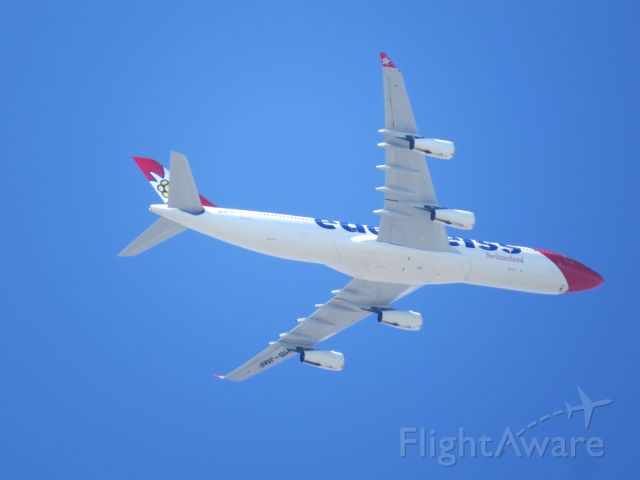 Airbus A340-300 (HB-JMF) - LSZH-KSAN EDW 18 on Friday June 9th. Took an approach from klax area and thus flew over my house.