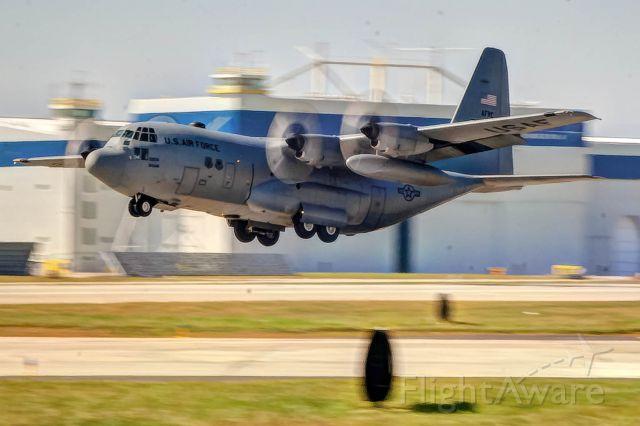 Lockheed C-130 Hercules — - A C-130 takes off at Dobbins ARB in Atlanta.