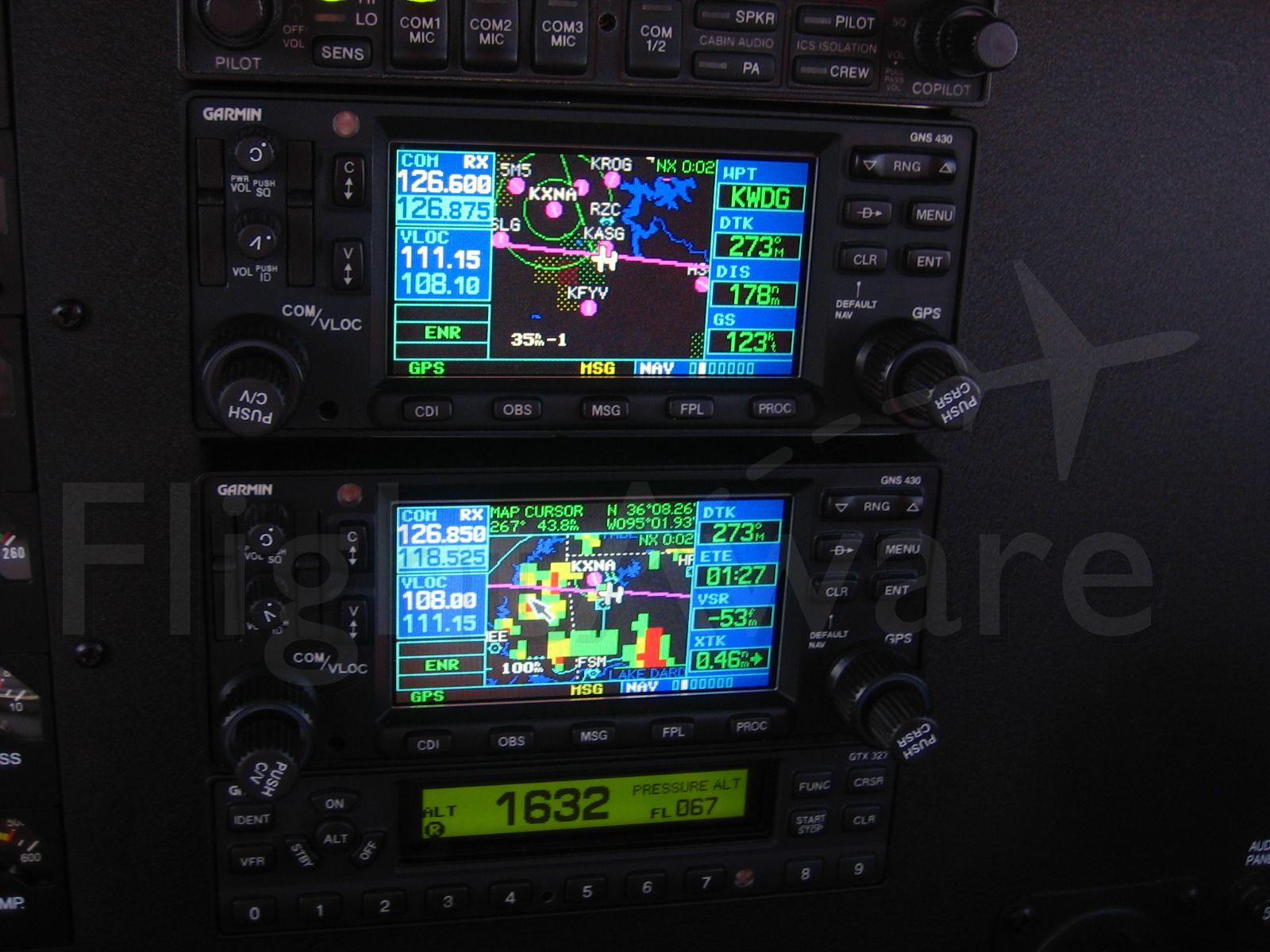 Grumman AA-5 Tiger (N929TE) - Dual Garmin 430s Detail - weather ahead!