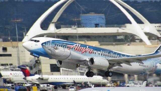 Boeing 737-700 (N559AS) - Salmon Thirty Salmon taking off at LAX