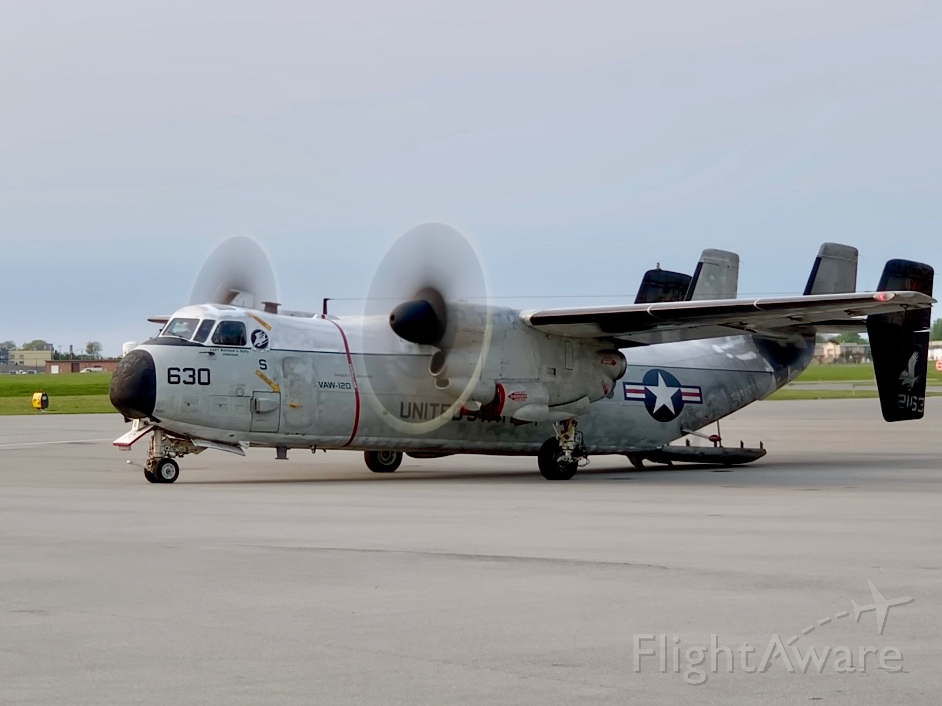 """Grumman C-2 Greyhound (16-2163) - 5/31/2019 A C-2A of the Carrier Airborne Early Warning Squadron 120 (VAW-120 """"Grayhawks"""") of Naval Station Norfolk."""