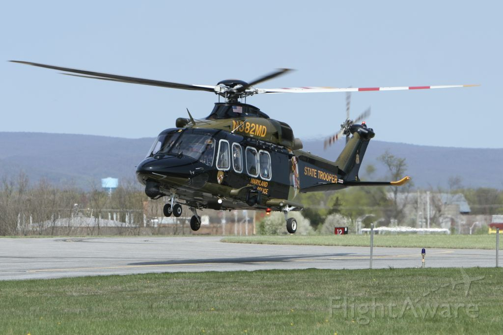 BELL-AGUSTA AB-139 (N382MD) - April 8, 2021 - arrived Frederick this morning with Catoctin Mountain as backdrop