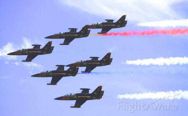 Aero L-39 Albatros — - Patriots Demo Flight Team at California International Air Show, 09-22-2012.
