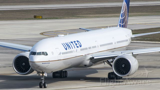 BOEING 777-300ER (N2331U) - New Spirit of United after pushback and ready to taxi KIAH.
