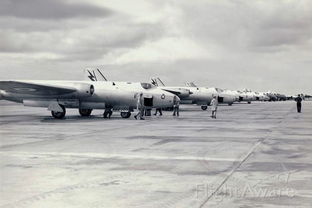 ENGLISH ELECTRIC Canberra (A84207) - English Electric-GAF Canberra A84-207 and others in transit RAAF East Sale (YMES) early 1960s.