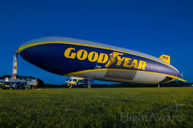 "Unknown/Generic Airship (N3A) - N3A ""Wingfoot Three"" illuminated by the hangar lights at Goodyear's Wingfoot Lake Airship Base near Akron, Ohio."