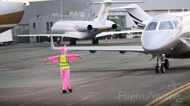 "LX-JET — - "" Pink Rabbit marshaller""  Paris Le Bourget Airport  EASTER 2018"