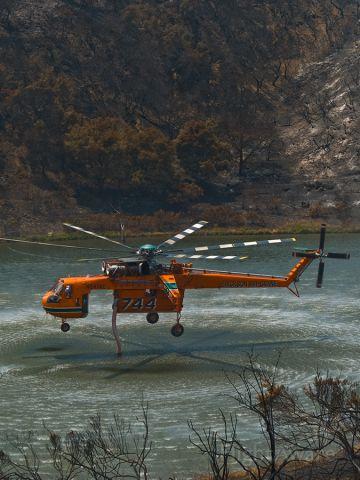 — — - N247AC, Erickson S-64E, dipping in support of GAP Fire, Santa Barbara, CA, 10 July 2008