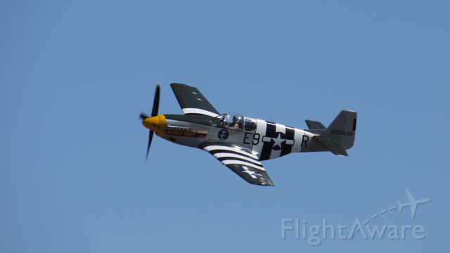 """N5087F — - Historic Flight Foundations P51B Mustang """"Impatient Virgin?"""" makes a flyby at Vintage Aircraft Weekend, 9/3/11."""