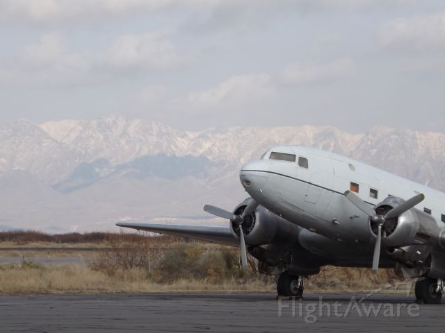 Douglas DC-3 (N321L) - Winter mountains in West Texas.