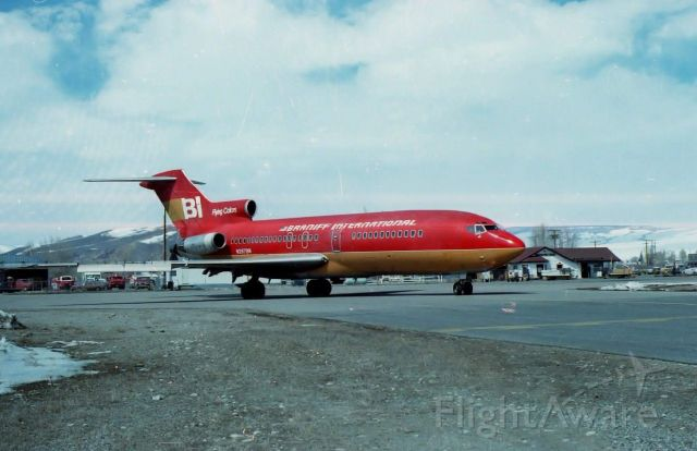 Boeing 727-100 (N287BN) - Back when young kids could  hang out at the airport,  BN had ski charter flights and I was fortunate enough to be  hired to  assist  with baggage handling of the  flights.<br />My photo