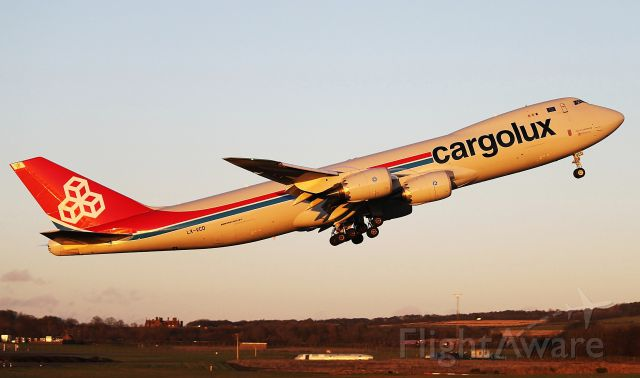 BOEING 747-8 (LX-VCD) - Lifting off from Prestwick for Luxembourg in the winter sun.21/11/12