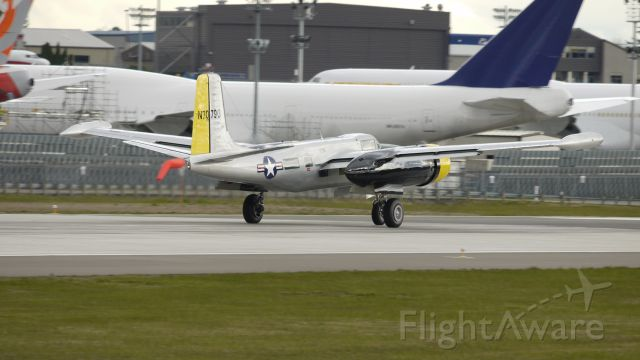 Douglas A-26 Invader (N7079G) - A 1944 Douglas A-26C on its takeoff roll on runway 16R on 4/1/12.