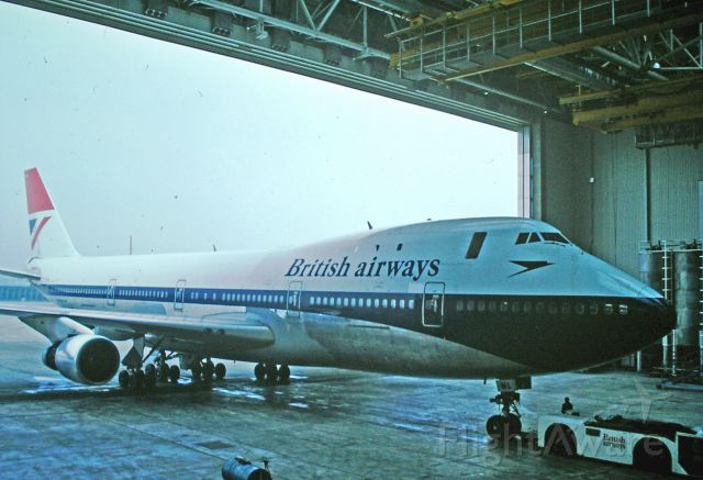 — — - Boeing 747 entering the then-new (1975) 747 hangar at Heathrow.
