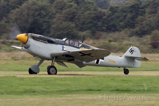 G-BWUE — - [cn.223]. Hispano Aviacion HA-1112 Buchone G-BWUE/10 landing at the RAFA Airshow Shoreham EGKA Airport 2.9.2012.