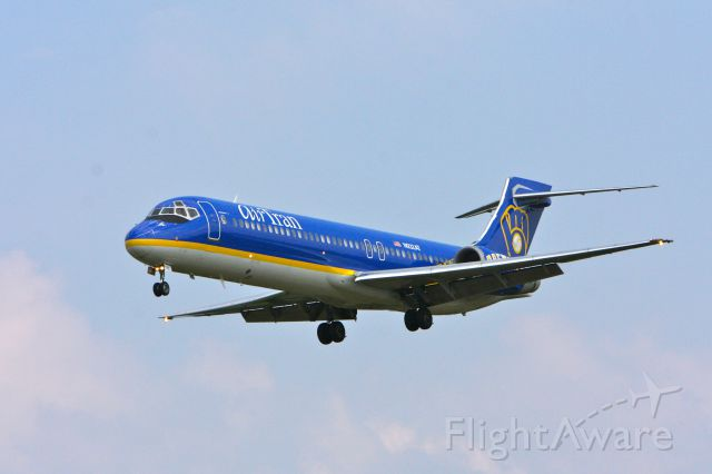 N932AT — - Landing on 33L at BWI on August 19, 2011 is Airtran N932AT in Milwaukee Brewers livery.