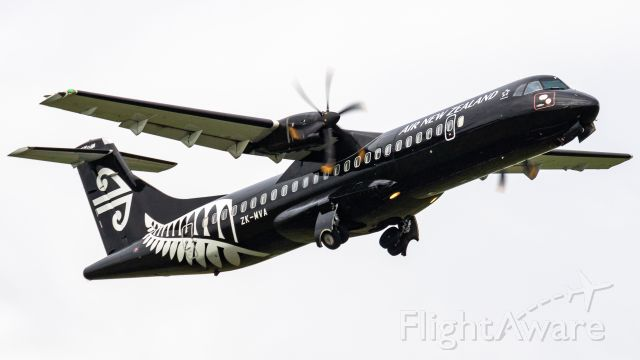 Aerospatiale ATR-72-600 (ZK-MVA) - A rather grey day provides some excellent contrast between the black livery of MVA and the sky.