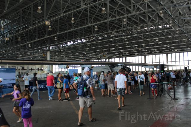 — — - This is the Solar Impulse 2 at a public viewing taken inside Hangar 111 at John Rogers Field