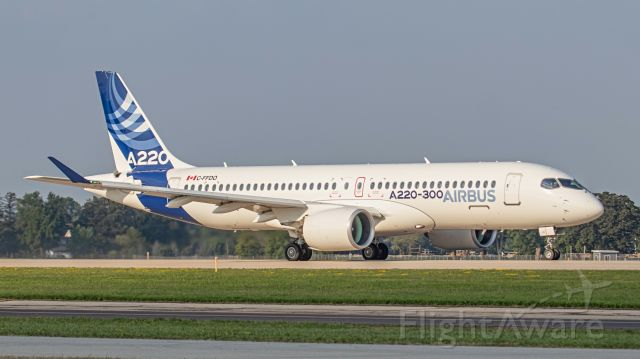 Airbus A220-300 (C-FFDO) - July 23, 2018, Oshkosh, WI -- This Airbus A220-300 model is departing off runway 18, after exhibiting during the EAA AirVenture 2018. Uploaded in low-resolution. Full resolution is available at cowman615 at Gmail dot com. cowman615@gmail.com