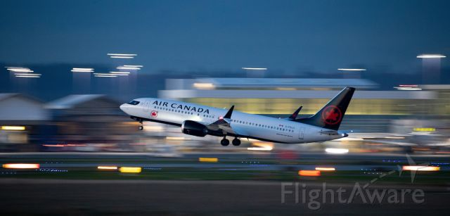 Boeing 737 MAX 8 (C-FSJJ) - Low light pan of Air Canada Boeing 737 Max 8 C-FSJJ departure at YVR for YYZ