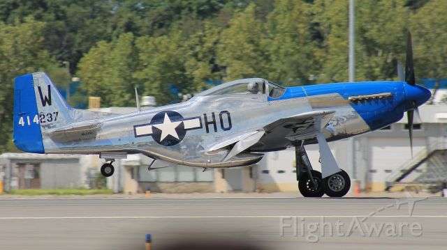 North American P-51 Mustang (N51VL) - Landing after a performance at the New York International Air Show, 24 August 2019.