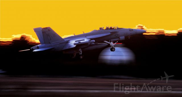 McDonnell Douglas FA-18 Hornet (16-9213) - Reg# 169213, Touch and Go at Sunset.