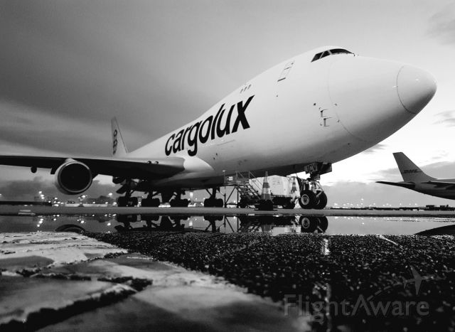 Boeing 747-400 (LX-JCV) - LX-JCV parked at S-77 at Amsterdam Airport Schiphol. In all here glory!