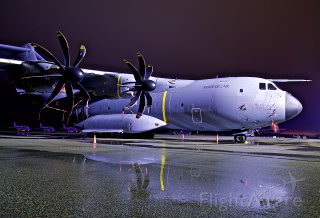 AIRBUS A-400M Atlas (F-RBAF) - Ghostly reflections of this amazing military transport aircraft on the ramp after the rain stopped. This aircraft was the support aircraft for the Patrouille de France 2017 North American tour.