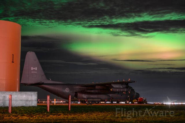13-0341 — - Spectacular Combination of Northern Lights and a C-130 Hercules at the Grande Prairie Airport - October 7 2015