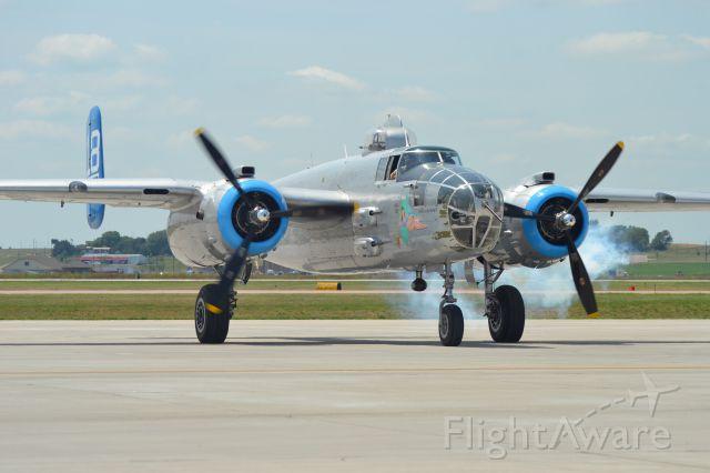 N125AZ — - North American B-25J starting #2 while preparing to depart KFSD for KRAP - 6-25-2012