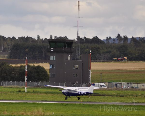 Cessna Skyhawk (G-BCYR) - Private Cessna F172M Skyhawk G-BCYR landing at Inverness Airport.<br />On 9 October 2013 the pilot became ill in flight leaving the inexperienced passenger to land the aircraft in failing light. The pilot later died in hospital.