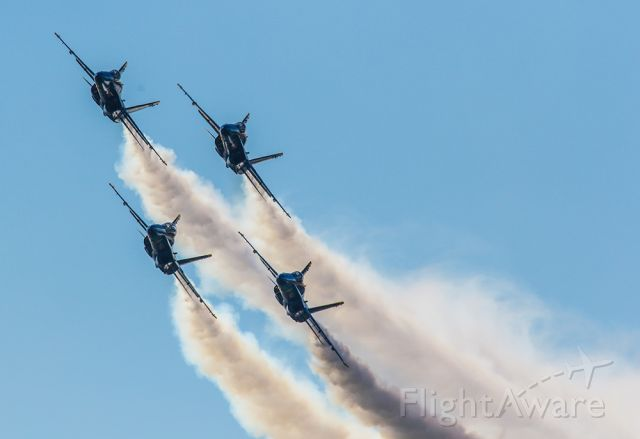 McDonnell Douglas FA-18 Hornet — - Blue Angels in formation performing at Sun N Fun in Lakeland Florida with heavy smoke.