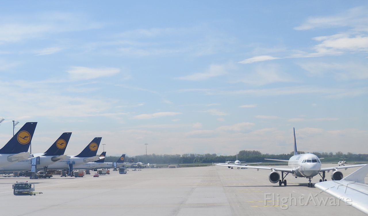 — — - Lufthansa line-up at Munich International