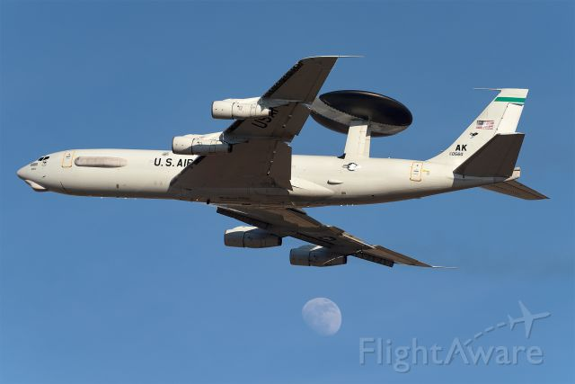Boeing E-3F Sentry (75-0560) - The awesome E-3 Sentry, callsign, Sentry 61 Heavy, stopped by the base to practice touch and goes and missed approaches for about 45 minutes. This Elmendorf AFB based E-3 returned to Tinker AFB in Oklahoma shortly after.