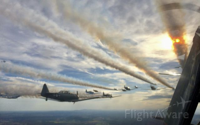 — — - CAF Practice hop over Culpepper, VA, for honor flight over Washington, DC monuments.  Formation of 25 AT-6s! I was fortunate to grab a hop, and amazing pictures and memories.
