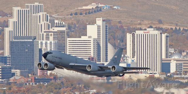 Boeing C-135FR Stratotanker (62-3557) - At two minutes before straight-up high noon yesterday (11:58 AM, Nov 9, 2018), this KC-135R Stratotanker (623557) is snapped on the climb away from Reno-Tahoe International's runway 16R as it is coming level with my spotting position at the top of Rattlesnake Mountain.  Formerly assigned to the 916th ARW at Seymour-Johnson AFB, there is no longer a tail flash and I was unable to determine its current unit assignment.