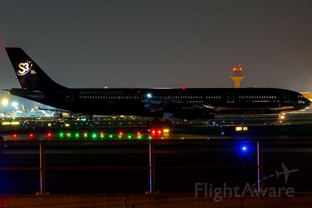 Airbus A340-300 (9H-TQM) - a black bird in a dark night, rwy 18 Frankfurt