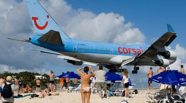 Boeing 747-400 (F-HSEA) - On the beach at St Marteen.