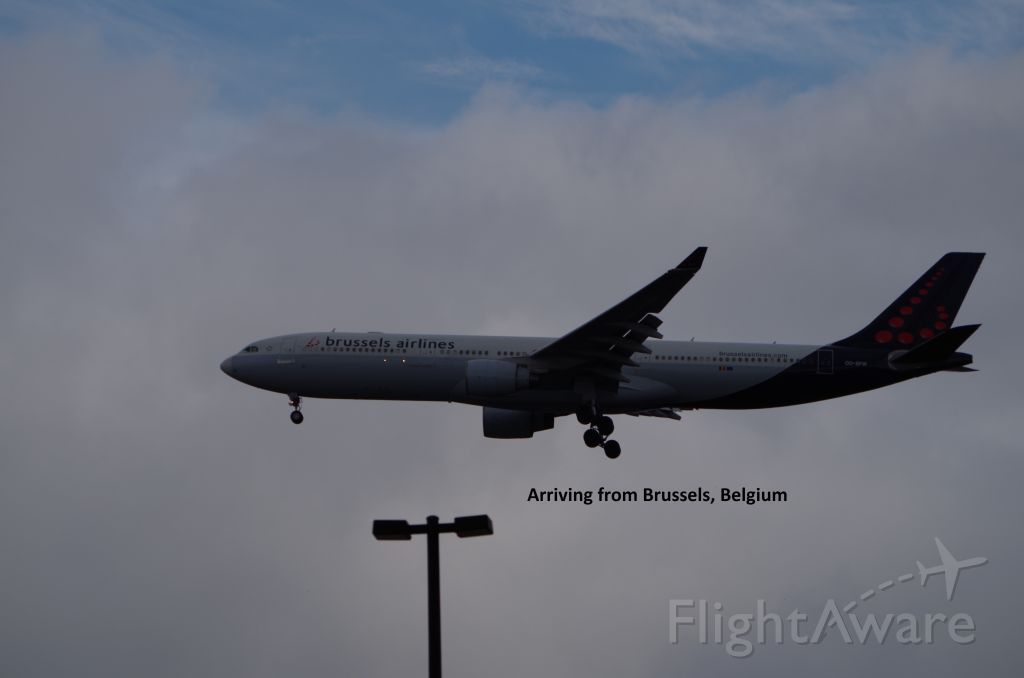 Airbus A330-300 (OO-SFW) - Landing at Washington Dulles. Taken from the Steven F. Udvar Hazy Center.