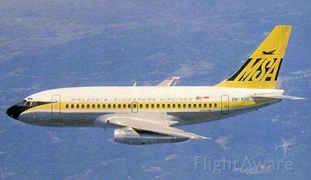 Boeing 737-100 (9M-AOU) - scanned from postcard